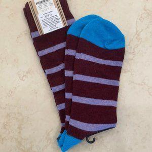 J.Crew Purple & Red Striped Socks Blue Toe New